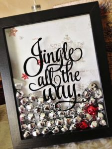 """Tutorial on how to make this adorable """"jingle all the way"""" framed picture with or without a vinyl cutting machine. #christmas #diy"""