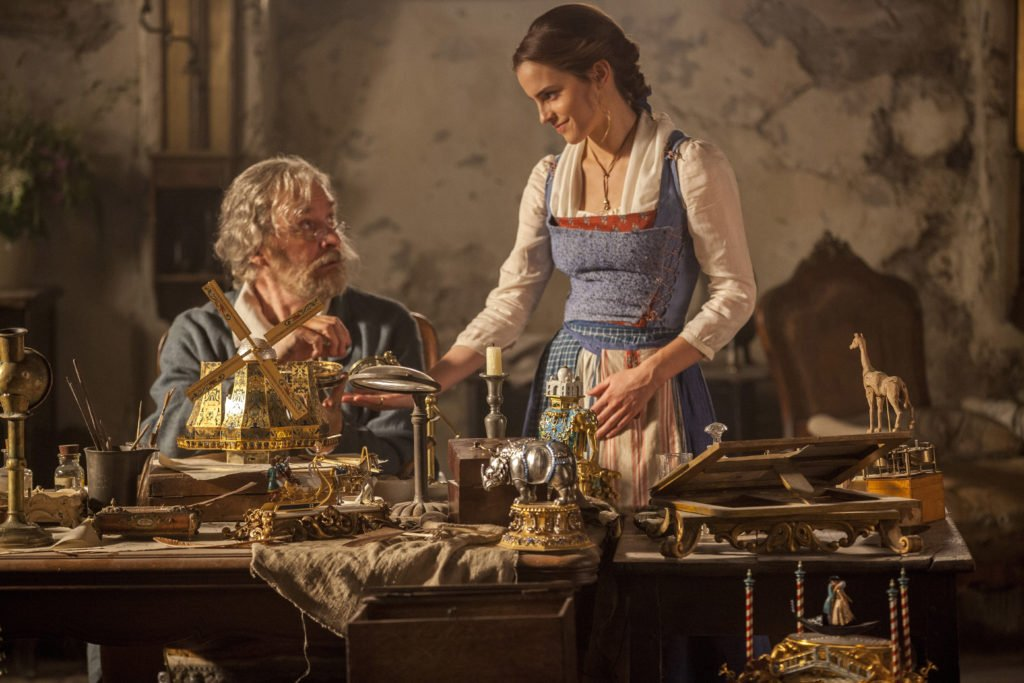 Emma Watson as Belle and Kevin Kline is Maurice