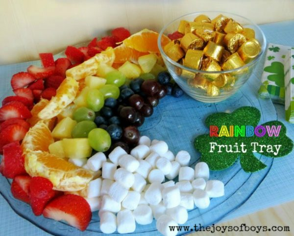 Gold and Rainbow Fruit Tray for St. Patrick's Day