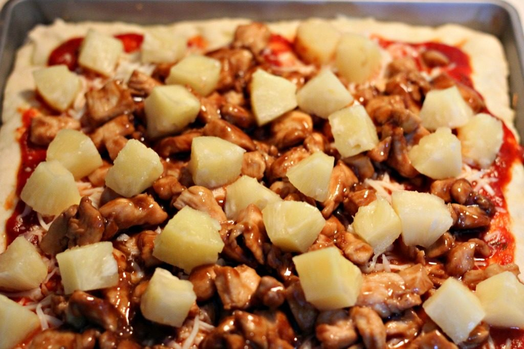 Teriyaki Chicken and Pineapple Pizza with Keli's Sauces