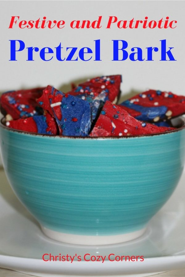 Festive and Patriotic chocolate Pretzel Bark