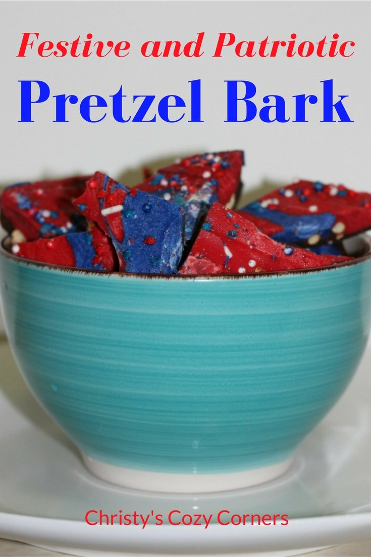 Festive and Patriotic Pretzel Bark