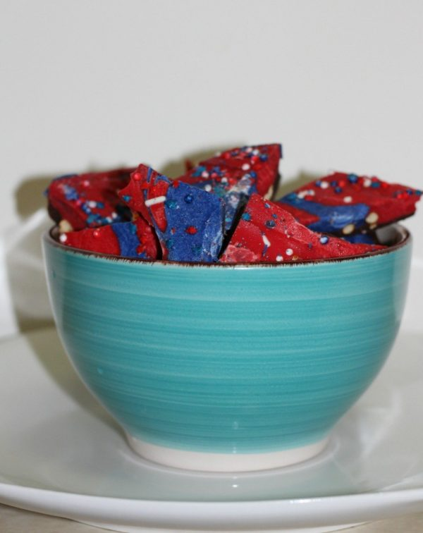 Festive and Patriotic chocolate Pretzel Bark