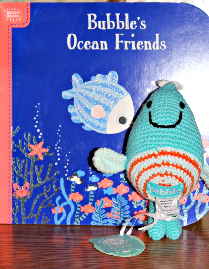 Bubble's Ocean Friends Board Book for Toddlers and Rattle