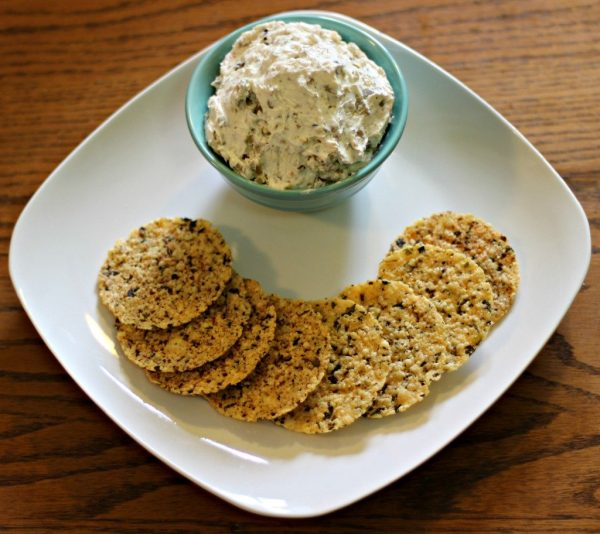 Olive cream cheese spread and crackers