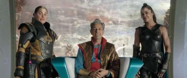 Rachel House, Jeff Goldblum and Tessa Thompson in Thor: Ragnarok