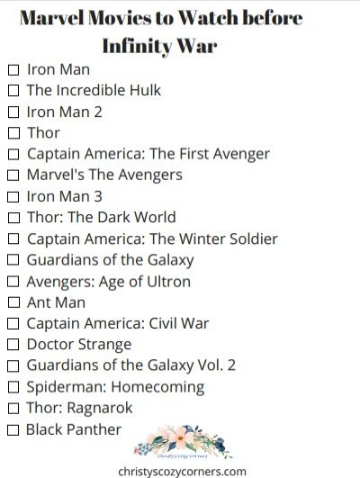 Marvel Movie Checklist Printable Movies to Watch before Infinity War