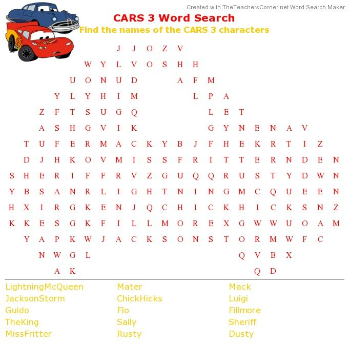 Have Fun with a Printable Cars 3 Word Search for Pixar Fest