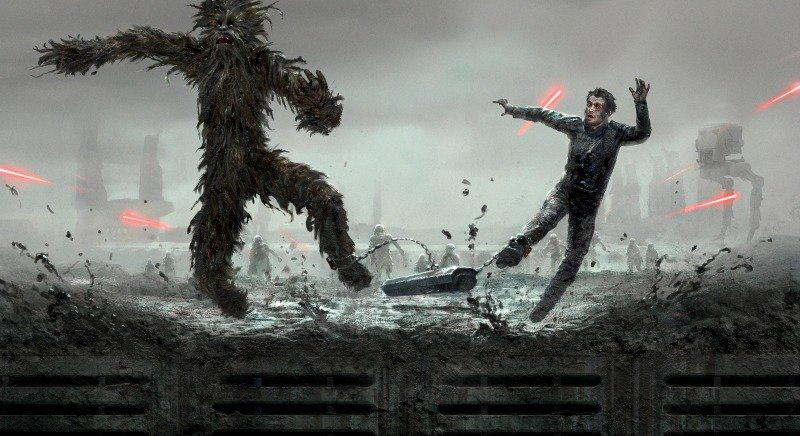 Han and Chewie in Solo: A Star Wars Story Concept Art and Bonus Clips Plus Recipes