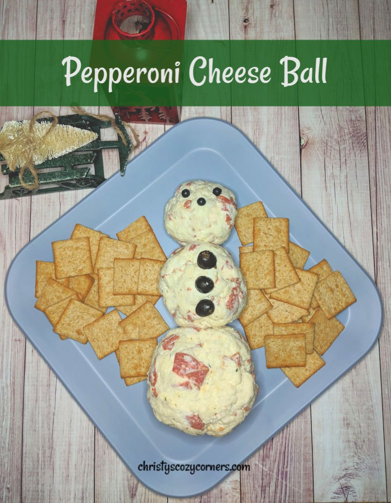 Snowman Pepperoni Cheese Ball Recipe with Sugardale Pepperoni