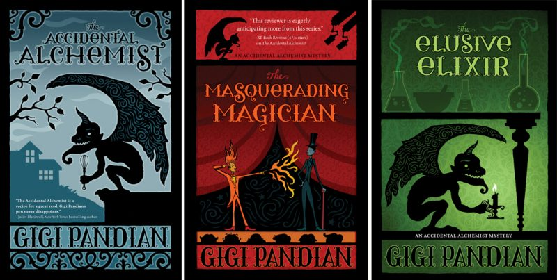First three books of Gigi Pandian's Accidental Alchemist Series includes The Accidental Alchemist The Masquerading Magician and The Elusive Elixir
