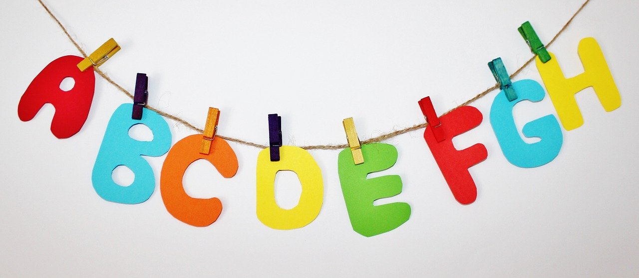 Alphabet letters in an office creche encourage learning
