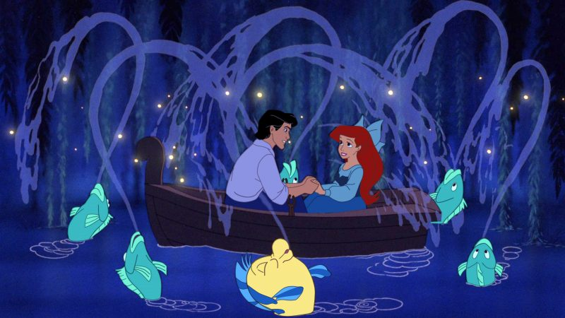 Eric and Ariel in the Kiss the Girl Scene from The Little Mermaid