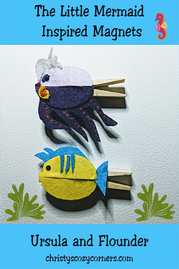 The Little Mermaid Inspired Magnets Ursula and Flounder