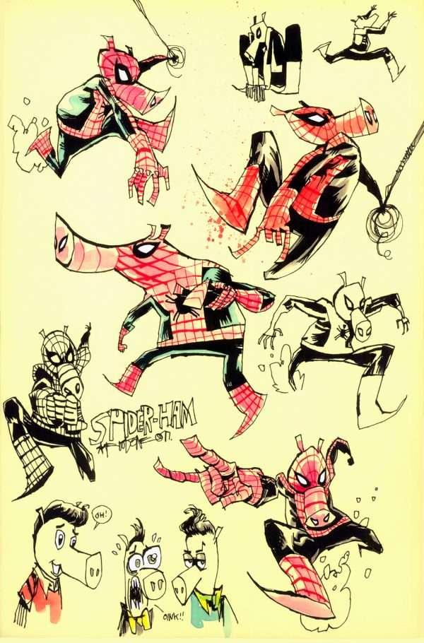 Spider-Ham Concept Art Into The Spider-Verse