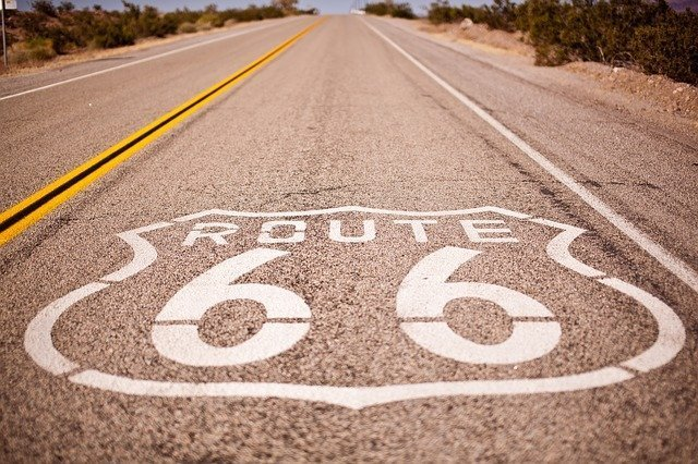 long road trip Route 66